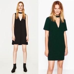 Zara Black Choker Plunge Neck Shift Dress